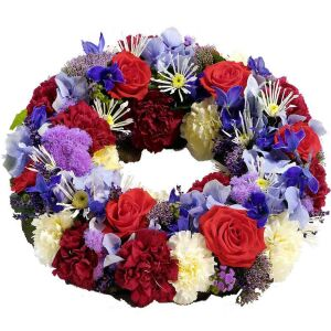 Wreath for funeral, blue-red-white